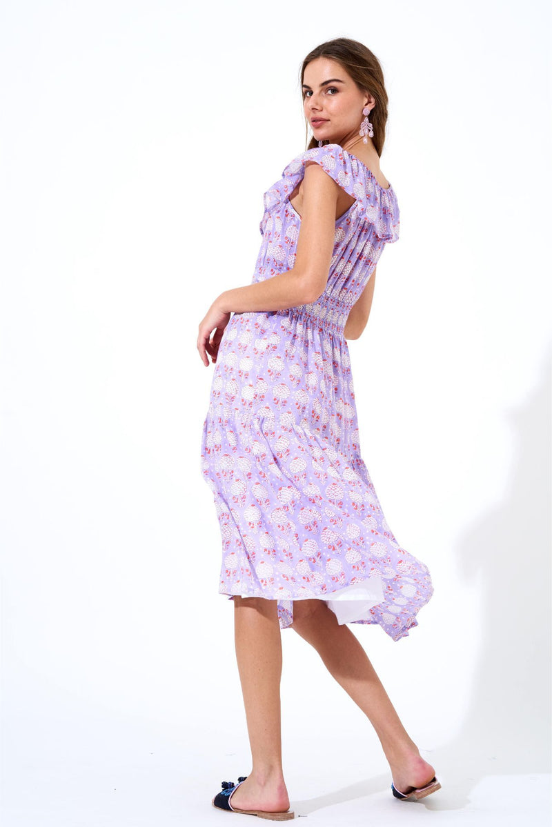 Ruffle Neck Midi Dress- Kerala Lavender