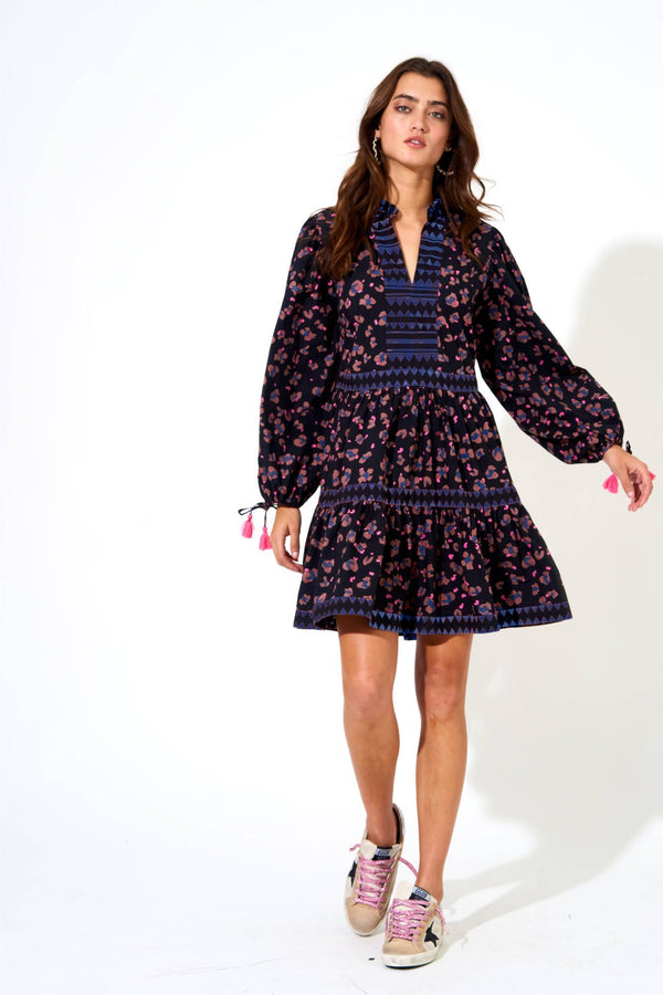 Long Sleeve Yoke Dress- Leopard Black/navy