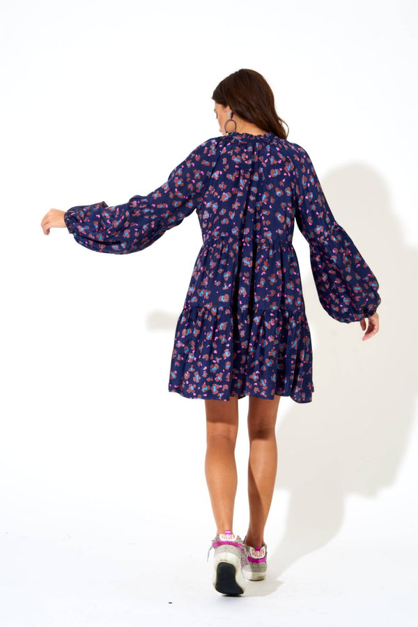 Balloon Sleeve Dress- Leopard Navy