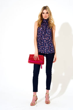 Sleeveless Tie Neck Top- Leopard Navy