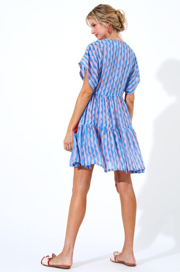 Side Tie Tassel Dress- Marimba Blue