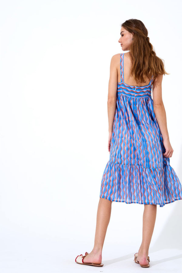 Tie Front Midi Dress- Marimba Blue