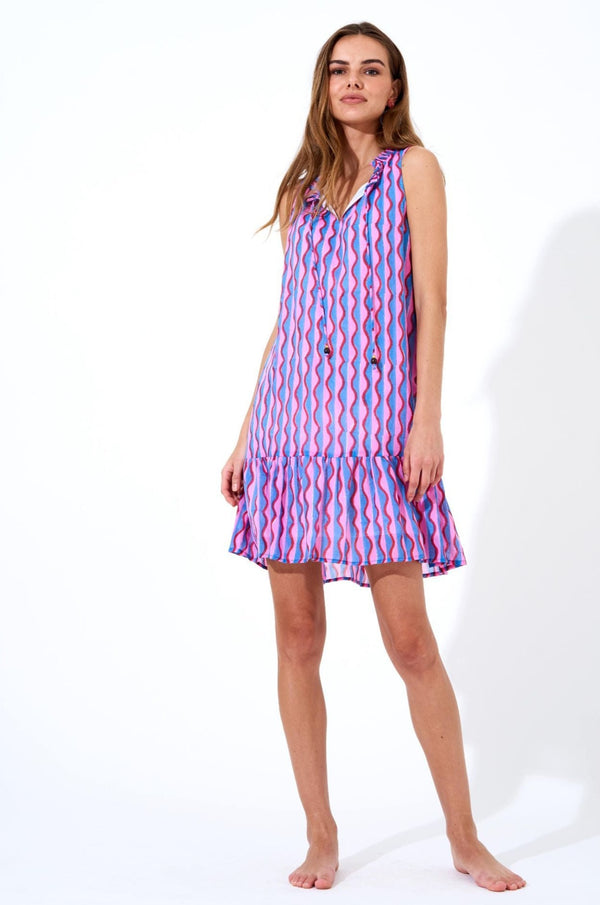 Ruffle Hem Dress- Marimba Pink