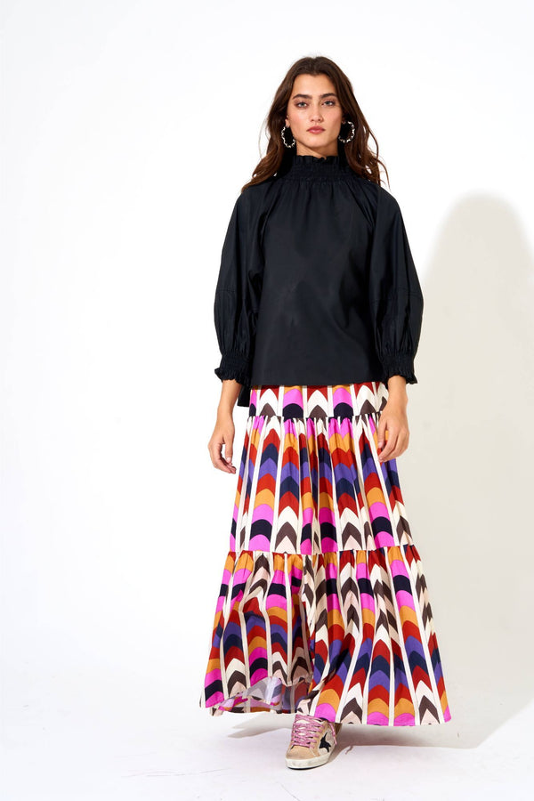 Tiered Maxi Skirt- Milano Black