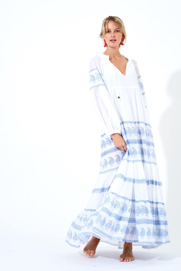 Balloon Sleeve Maxi Dress- Mughal Blue