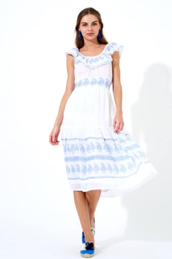 Ruffle Neck Midi Dress- Mughal Blue