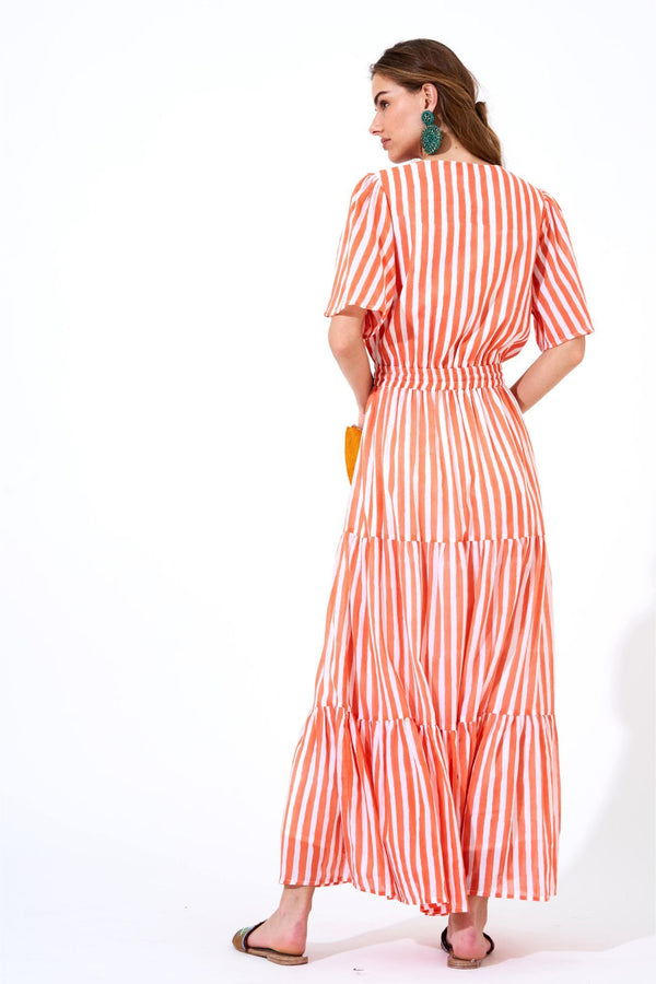 Short Sleeve Maxi Dress- Nassau Coral