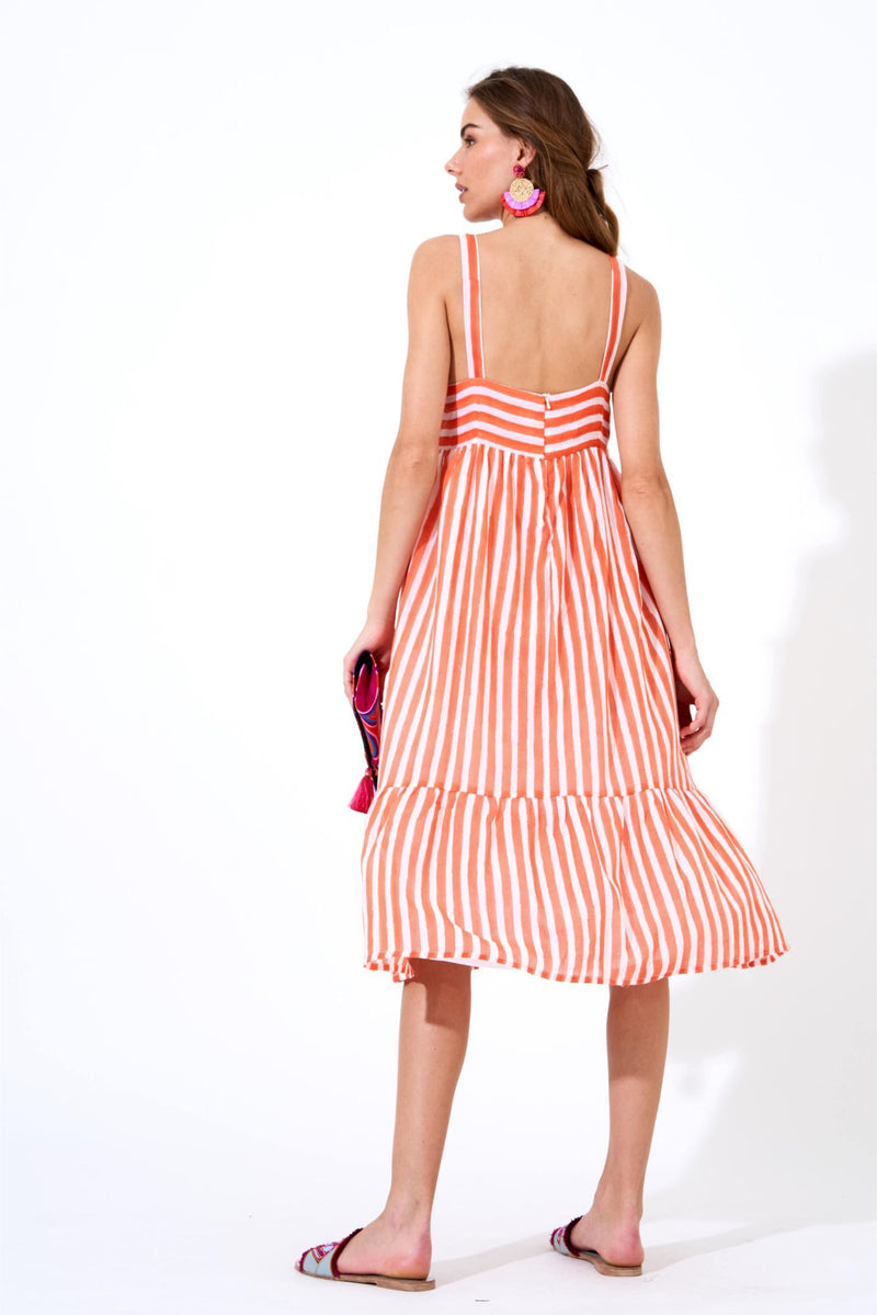 Tie Front Midi Dress- Nassau Coral