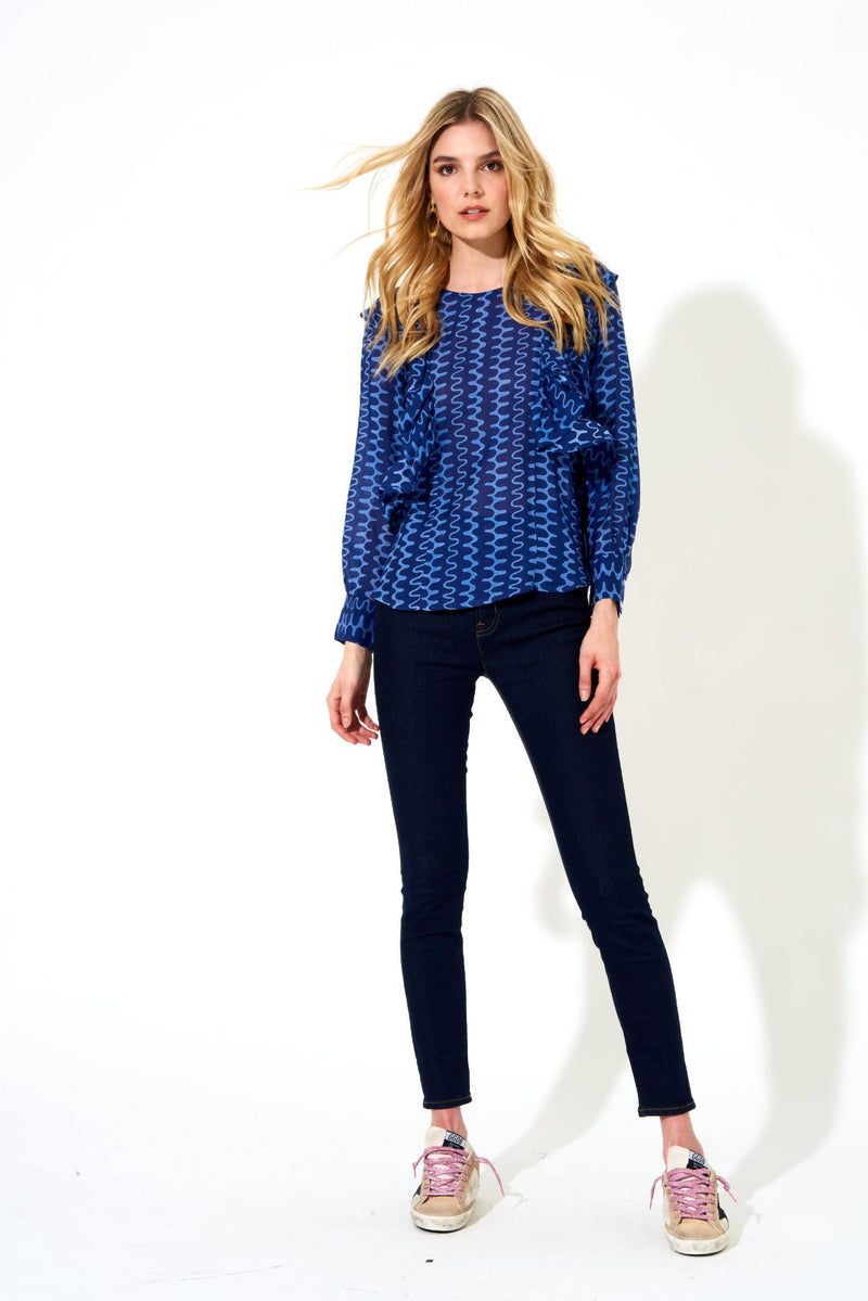 Ruffle Front Blouse- Nomad Blue