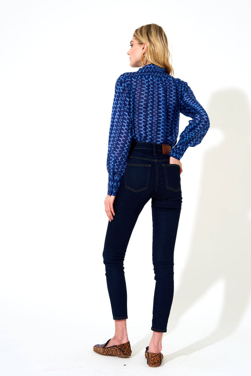 Tie Neck Blouse- Nomad Blue