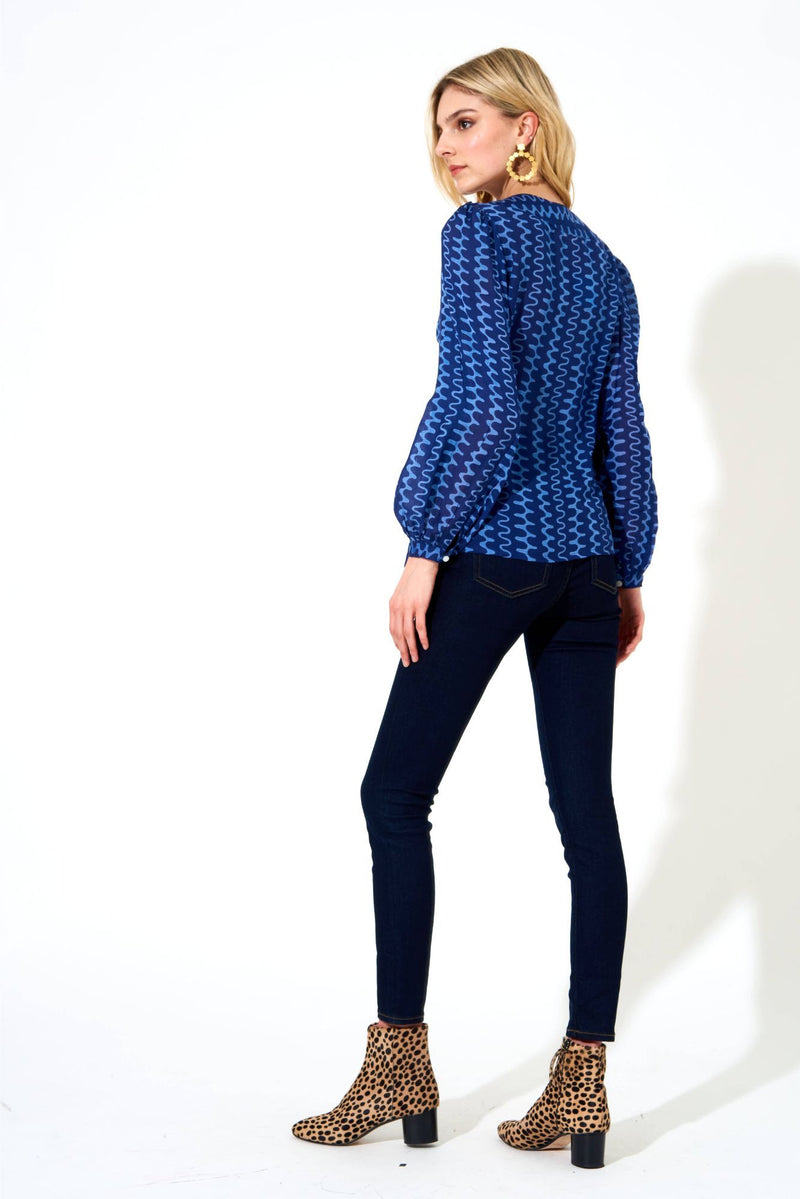 V Neck Blouse- Nomad Blue