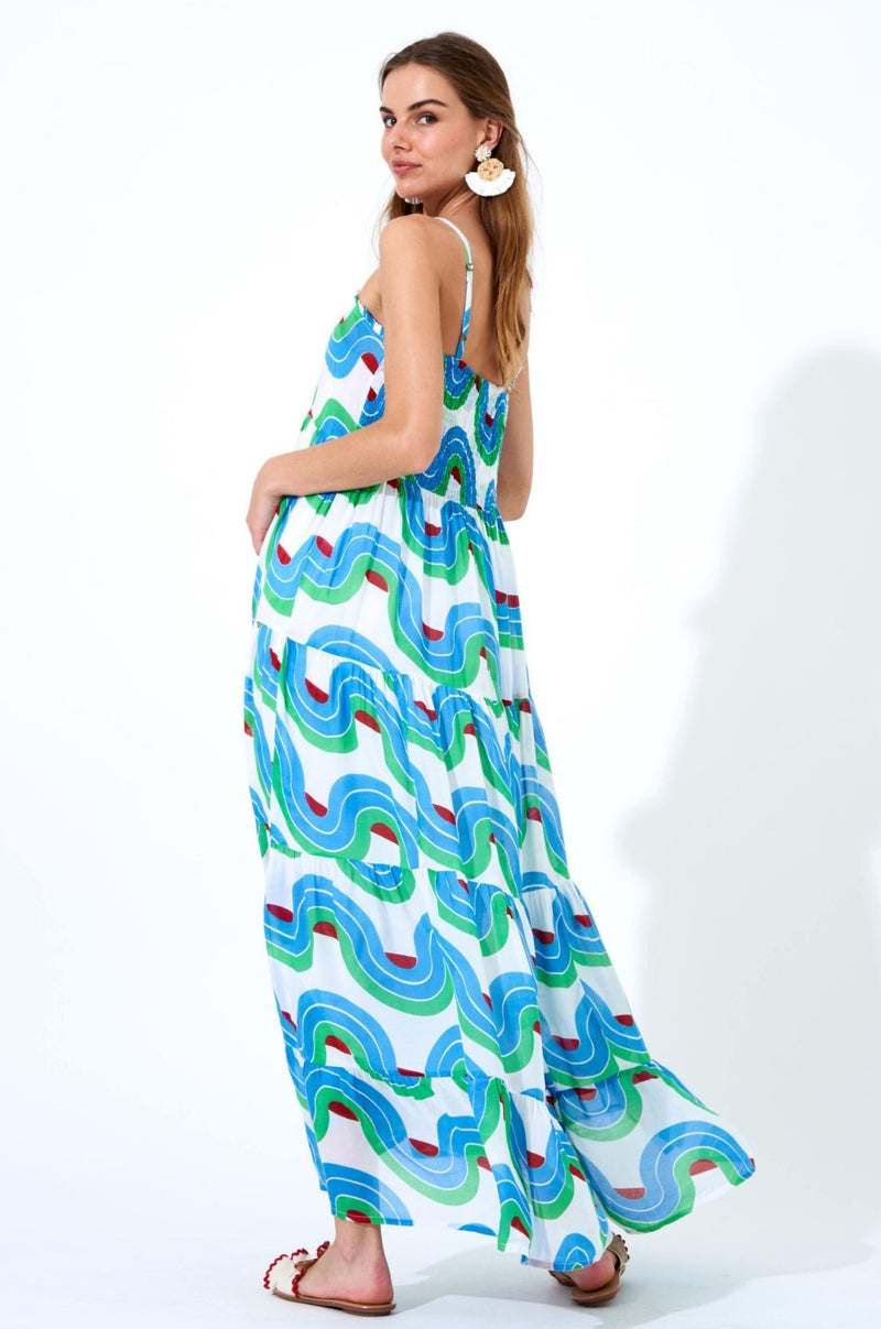 Smocked Back Maxi- Nouveau Blue