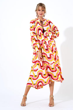 Balloon Sleeve Midi Dress- Nouveau Yellow