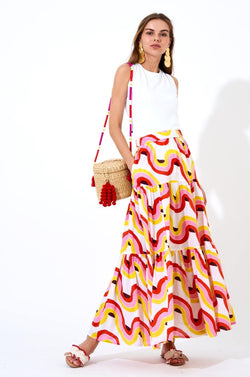 Tiered Maxi Skirt- Nouveau Yellow
