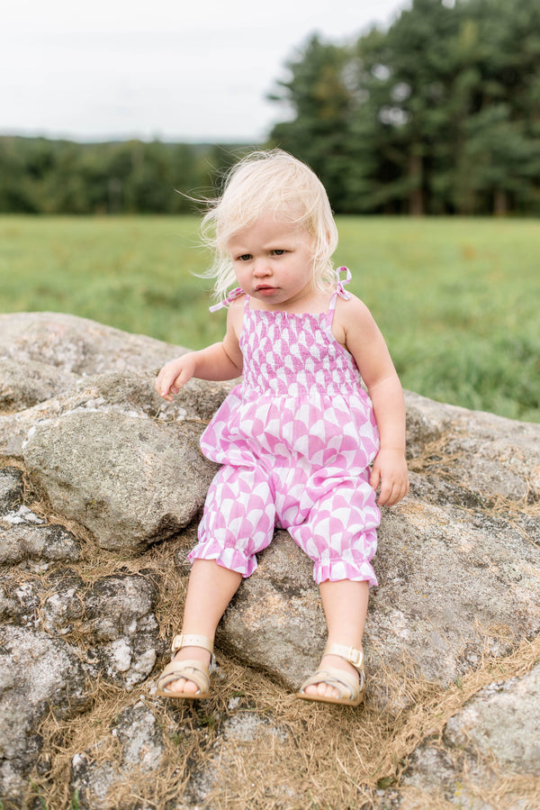 Baby Romper- Pebble Coral
