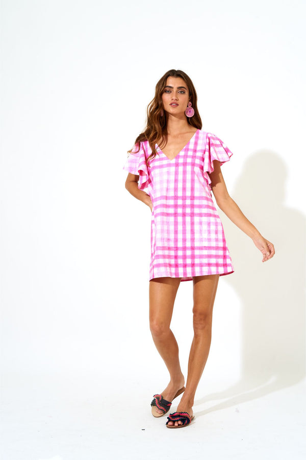 Flirty V-Neck Short Dress- Gingham Pink