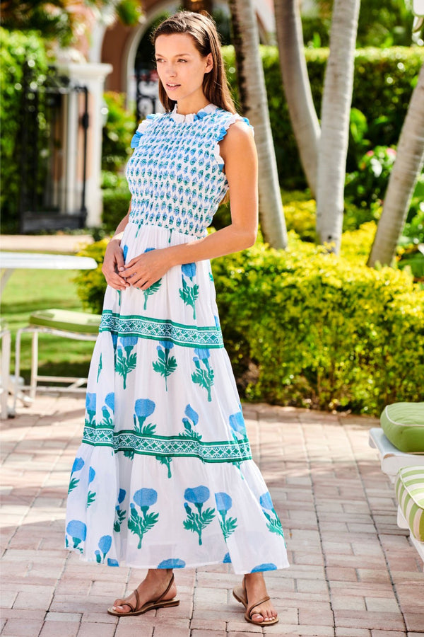 Sleeveless Smocked Maxi- Bloom Blue
