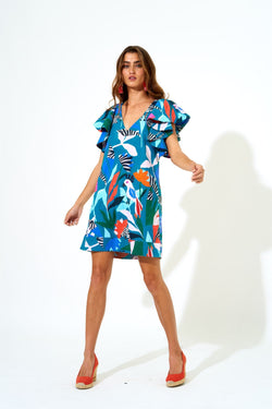 Flirty V Neck Short Dress- Panama Teal