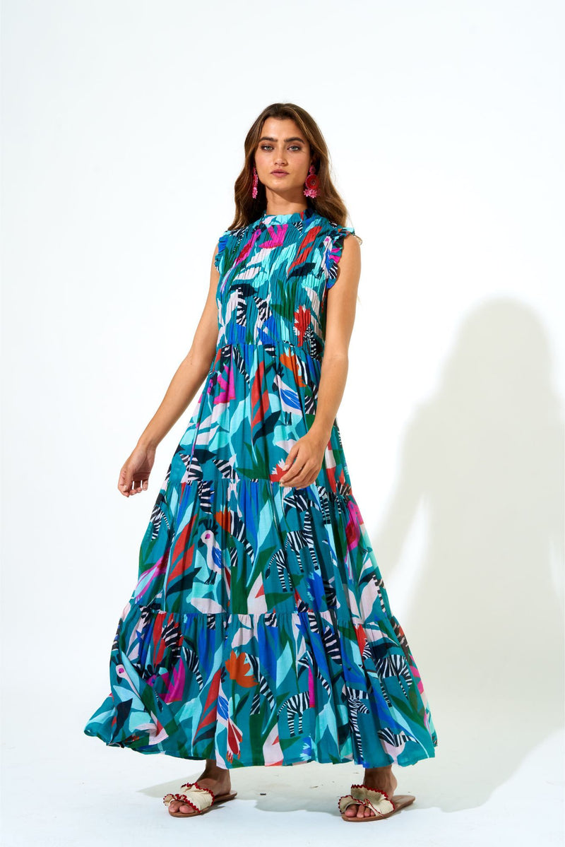 Sleeveless Smocked Maxi- Panama Teal