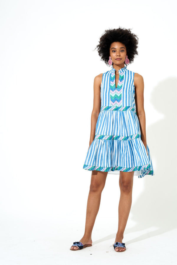 Yoke Dress- Playa Blue