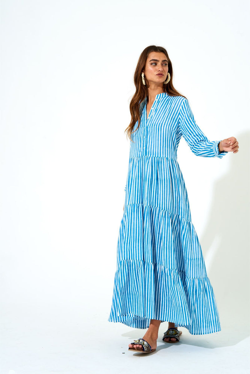 Mandarin Maxi Dress- Playa Mini Blue