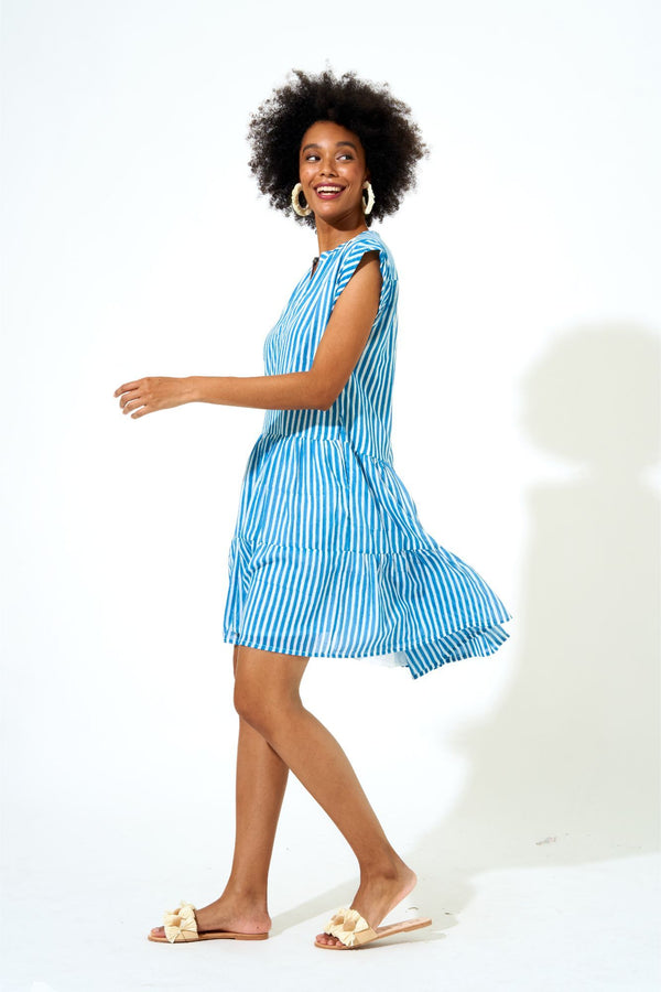 Roll Sleeve Dress- Playa Blue