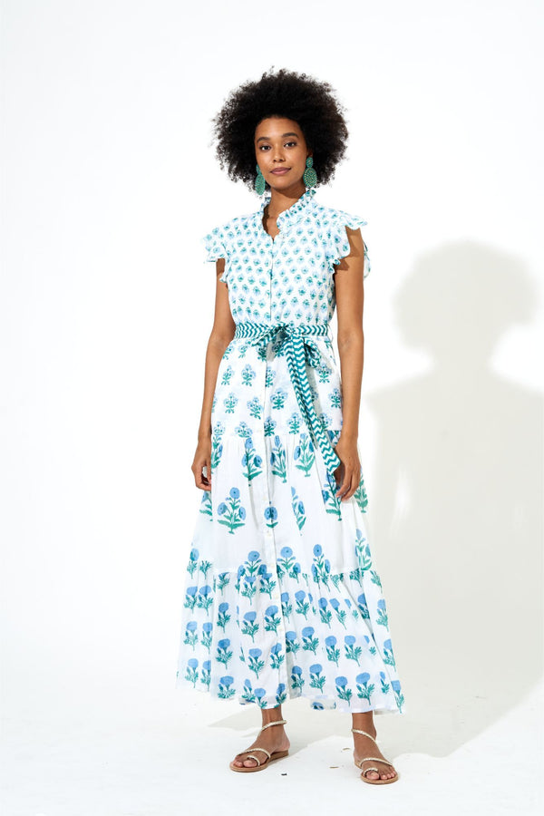 Ruffle Collar Button Maxi- Provence Blue
