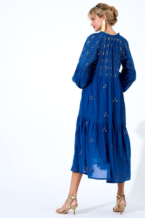 Embroidered Balloon Sleeve Midi Dress- Alma Navy