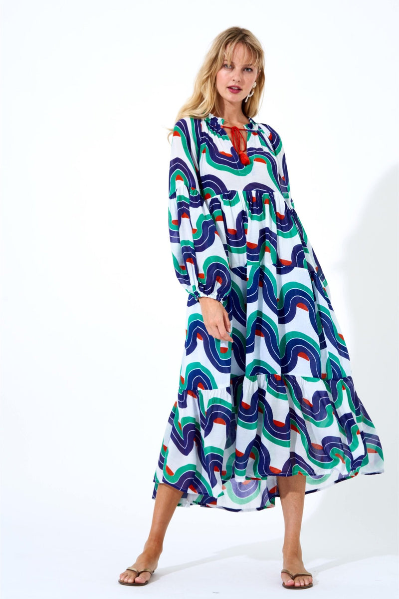 Balloon Sleeve Midi Dress- Nouveau Navy