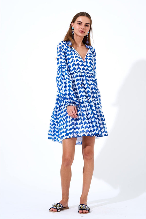 Balloon Sleeve Dress Short- Moby Blue