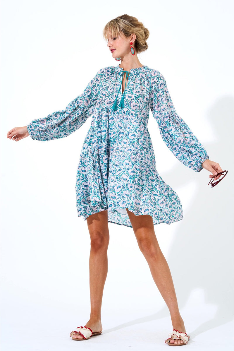 Balloon Sleeve Dress Short- Persia Aqua