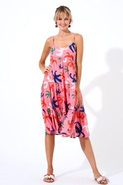 Button Back Midi Dress- Cozumel Pink