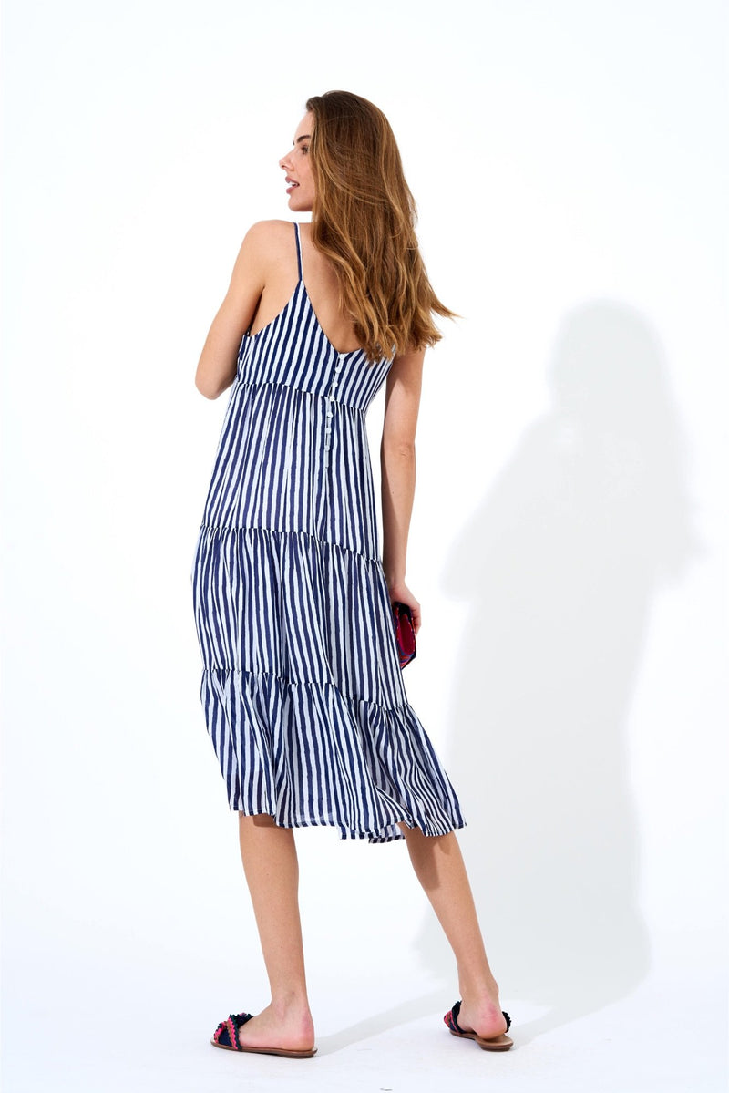 Button Back Midi Dress- Gondola Navy