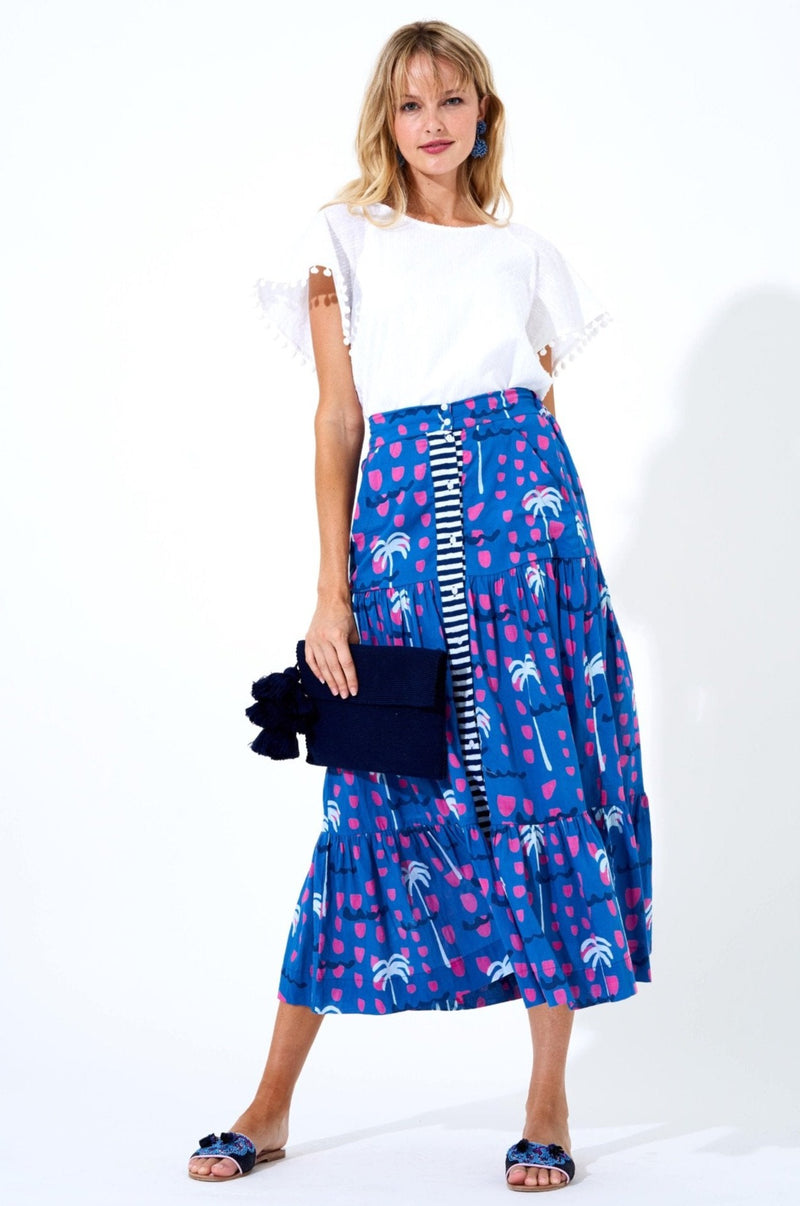 Button Front Skirt- Ipanema Blue