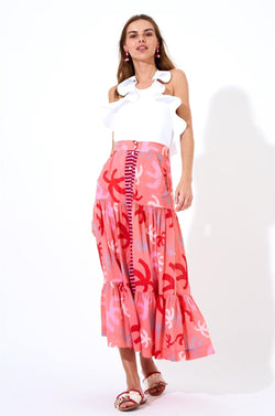 Button Front Skirt- Cozumel Pink/Red