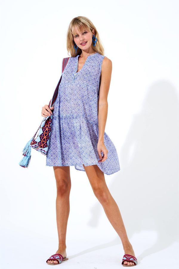 Button Neck Dress- Tetris Blue