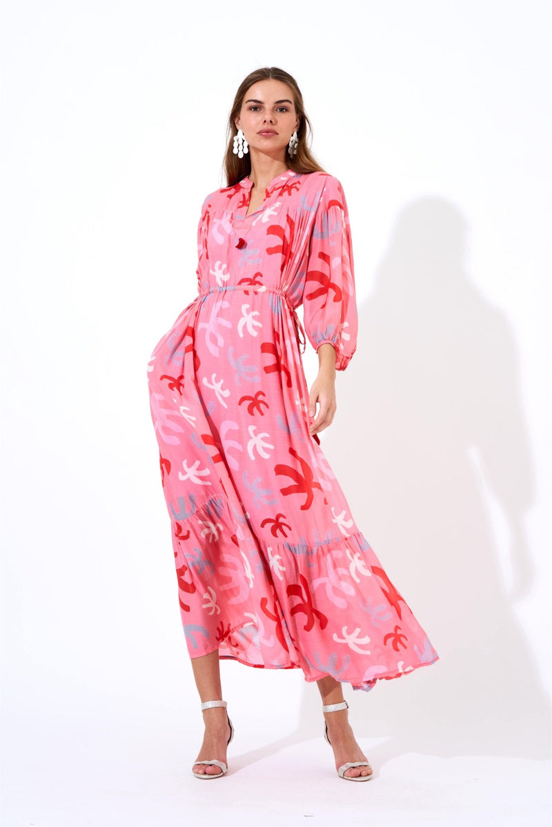 Cinched Waist Maxi Dress- Cozumel Pink/red