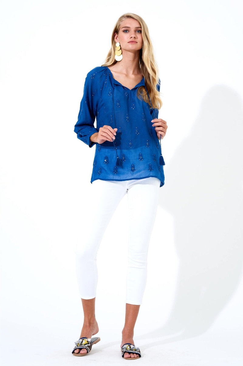 Embroidered Tassel Top- Alma Navy