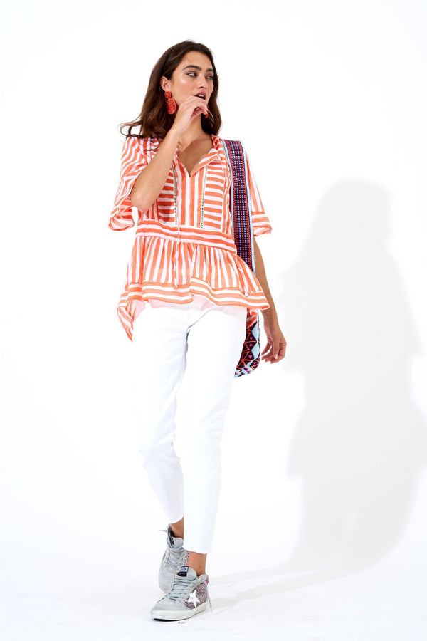 Hemstitch Top- Nassau Coral