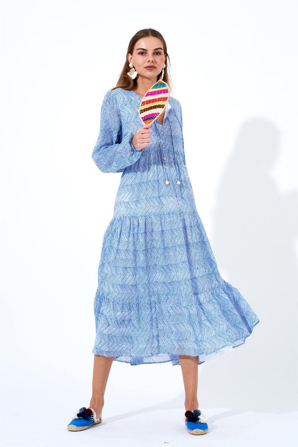 Long Sleeve Maxi- Jambo Blue
