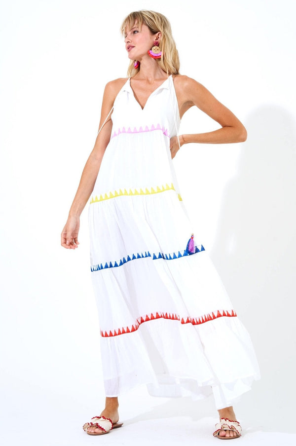 Long Tiered Tassel Dress- Salsa White