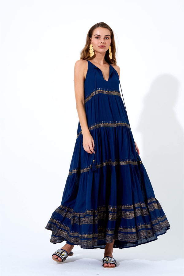 Long Tiered Tassel Dress- Tata Navy Gold