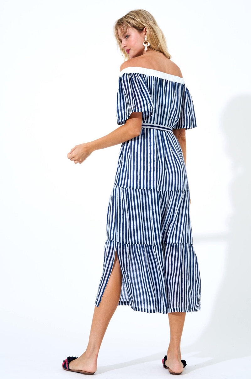 On Off Shoulder Pocket Midi Dress- Gondola Navy