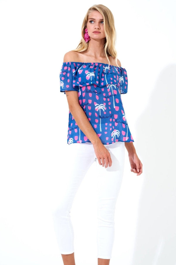 On Off Shoulder Top- Ipanema Blue