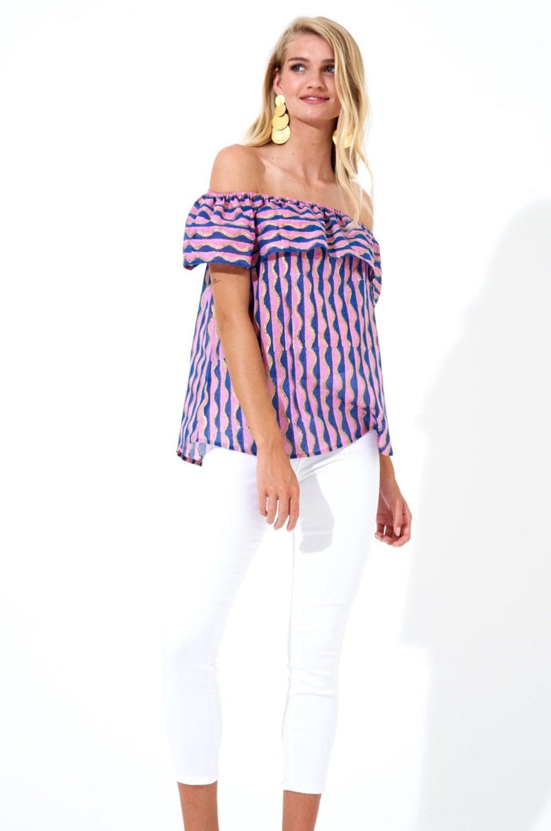On Off Shoulder Top- Marimba Navy Gold
