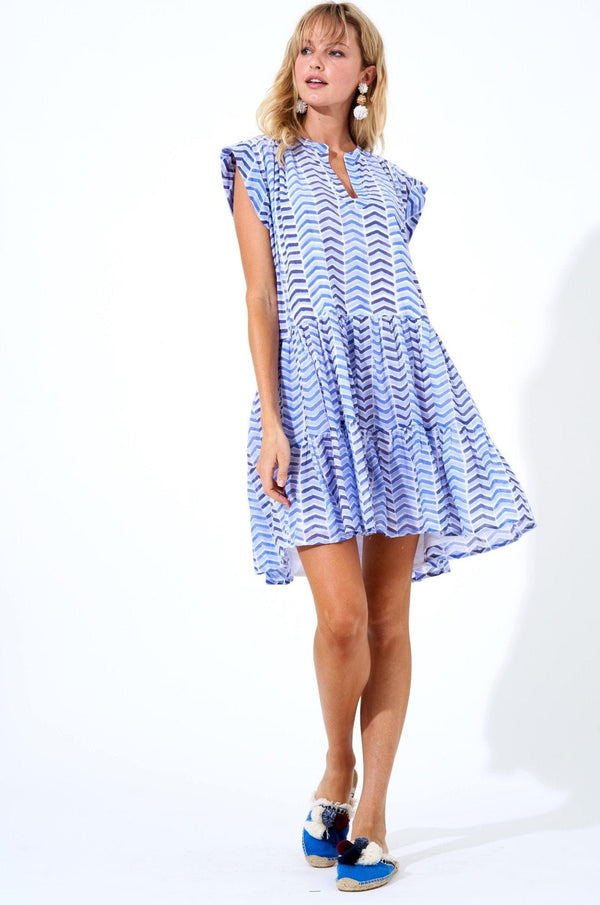 Roll Sleeve Dress- Sonoma Blue