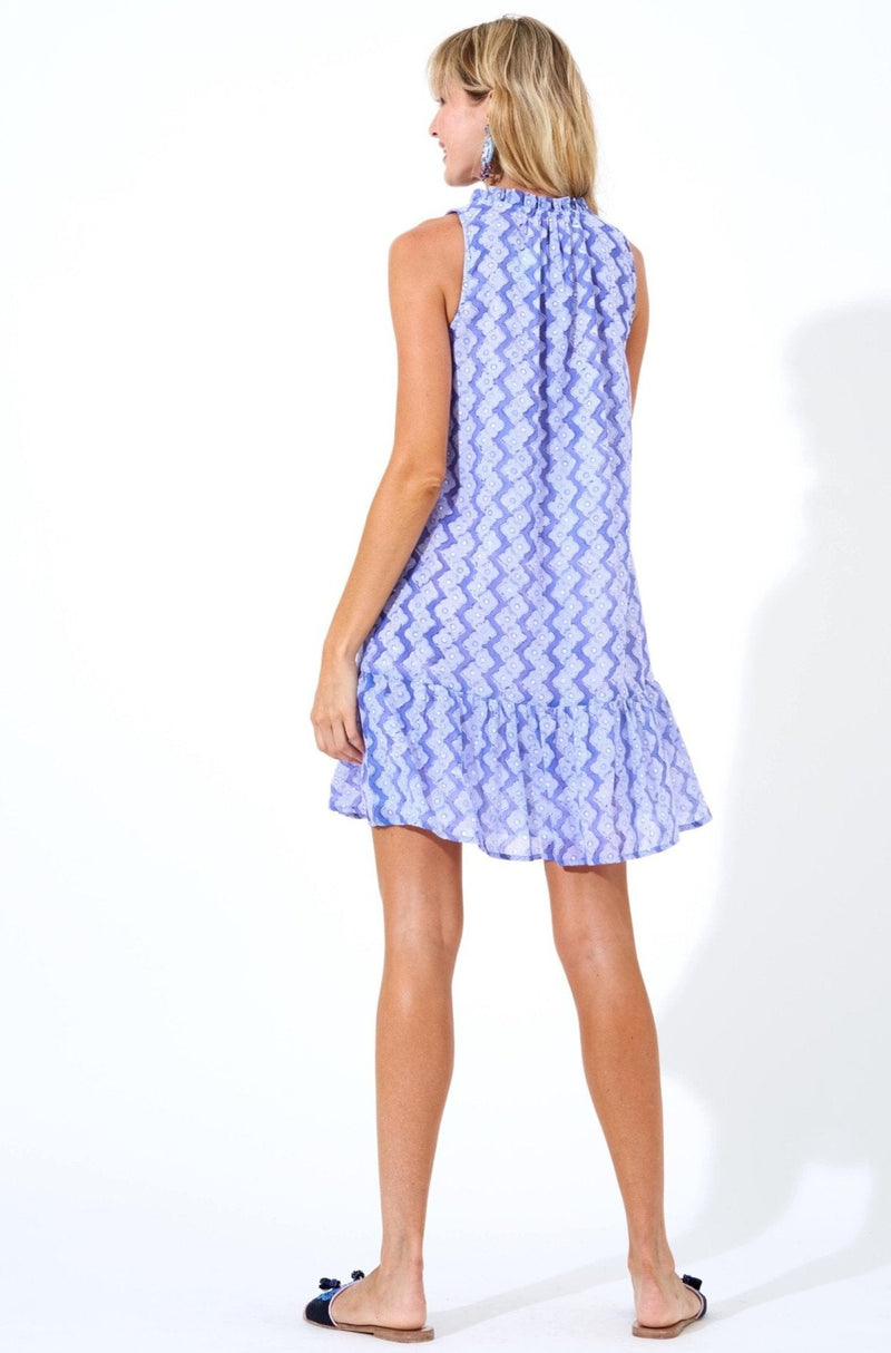 Ruffle Hem Dress- Flora Periwinkle