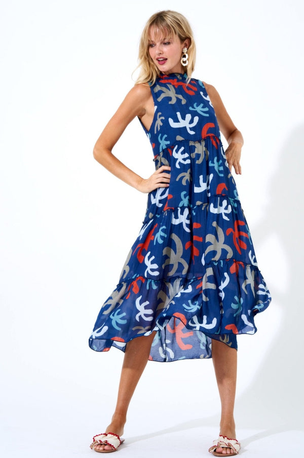 Ruffle Tiered Midi Dress- Cozumel Navy