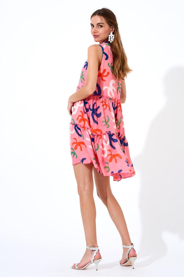 Ruffle Tiered Short Dress- Cozumel Pink