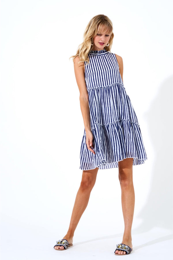 Ruffle Tiered Short Dress- Gondola Navy